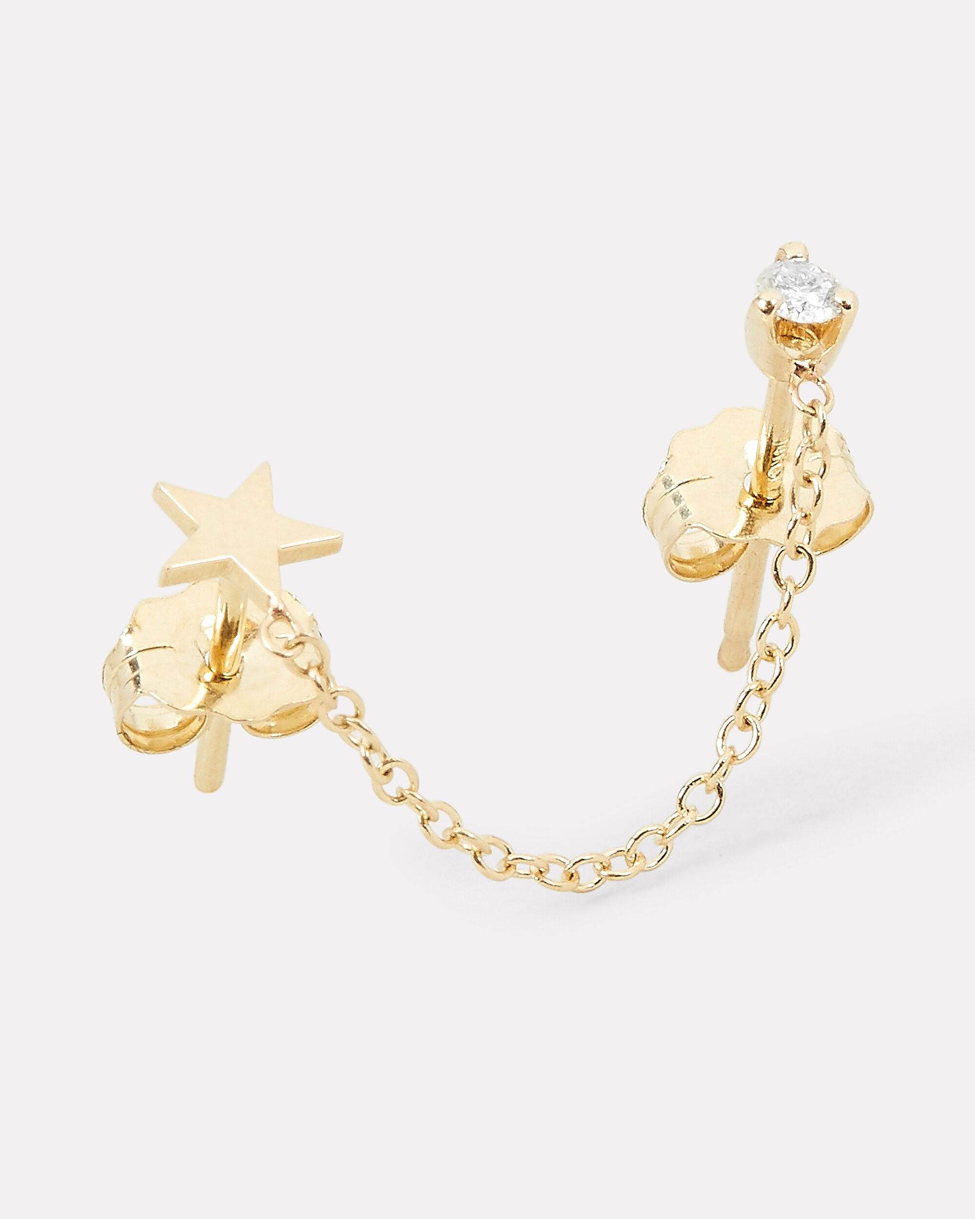 Itty Bitty Star Double Piercing Single Earring, GOLD, hi-res