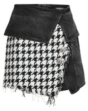 Mixed Denim Tweed Mini Skirt, CHARCOAL/HOUNDSTOOTH, hi-res
