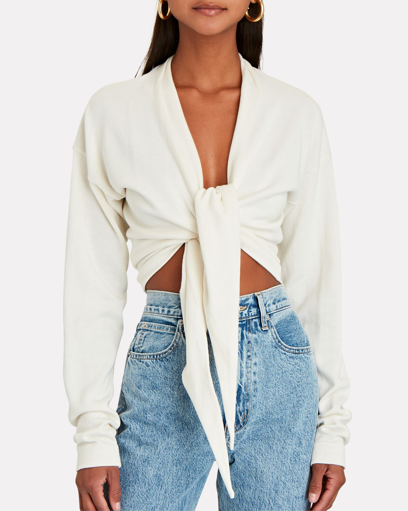 Latona Cropped Tie-Front Sweater, IVORY, hi-res