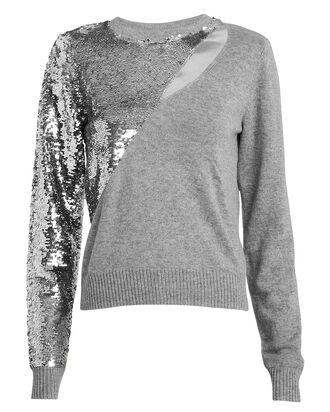 Teagan Sequin Cut-Out Sweater, HEATHER GREY, hi-res