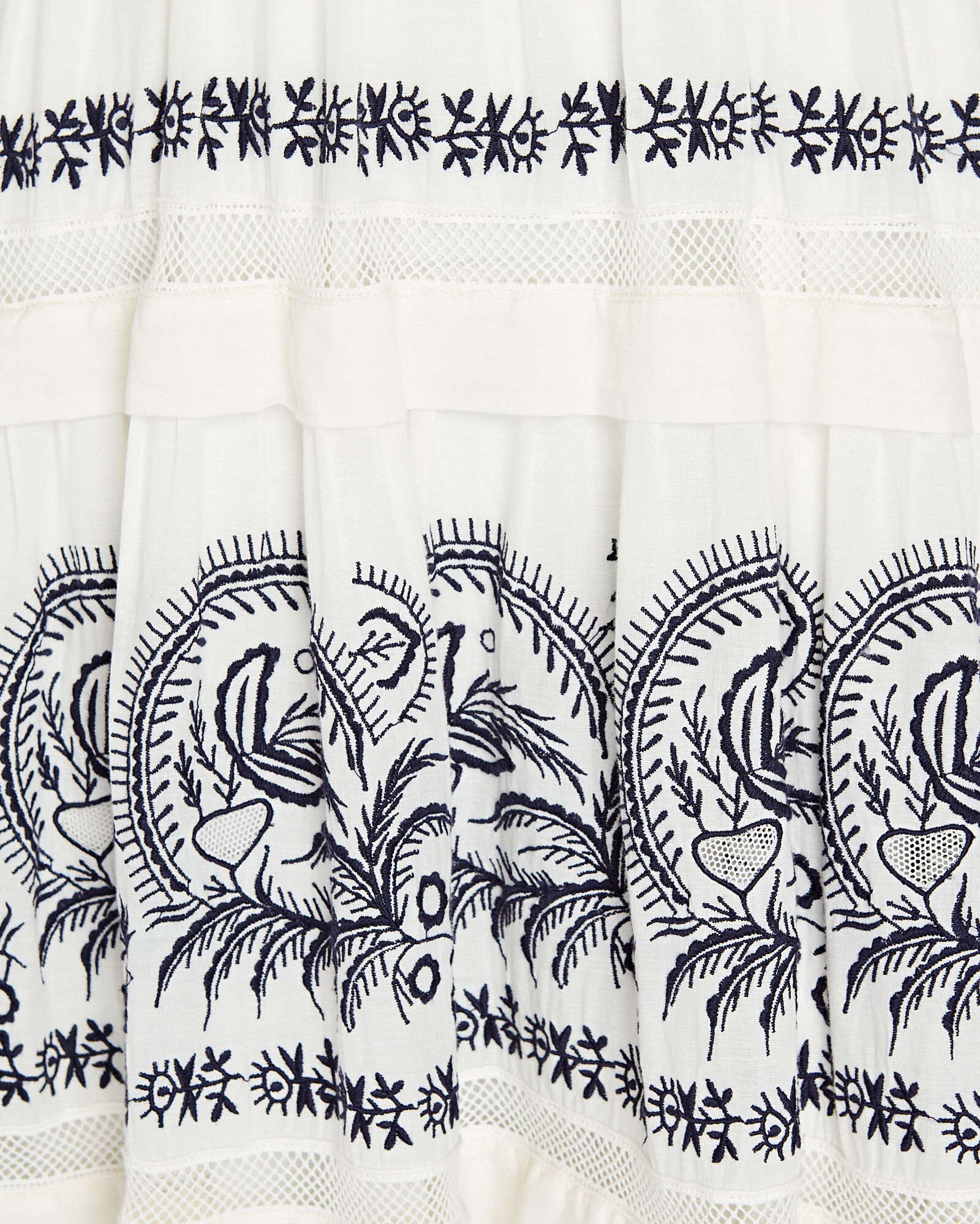 Marjorie Embroidered Cotton Dress, WHITE, hi-res