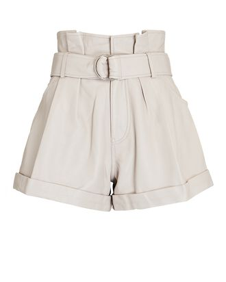 Dixon Leather Paperbag Shorts, IVORY, hi-res