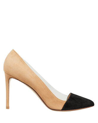 Bicolored Suede Pumps, BEIGE/BLACK, hi-res