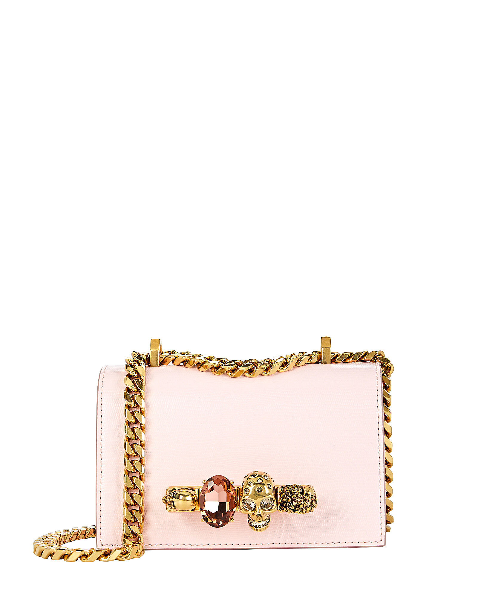 Mini Jewelled Leather Satchel, PINK, hi-res
