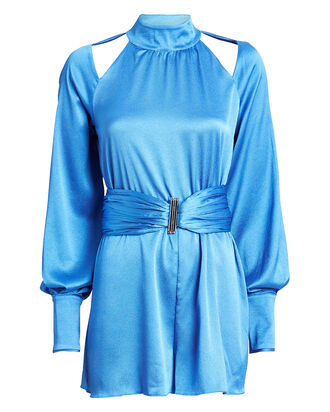 Lorca Satin Romper, BLUE, hi-res