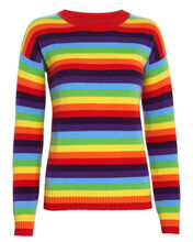 Sarabi Striped Cashmere Sweater, RAINBOW STRIPE, hi-res