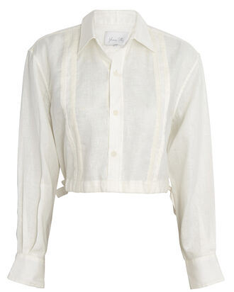 Cuban Towns Cropped Linen Shirt, IVORY, hi-res