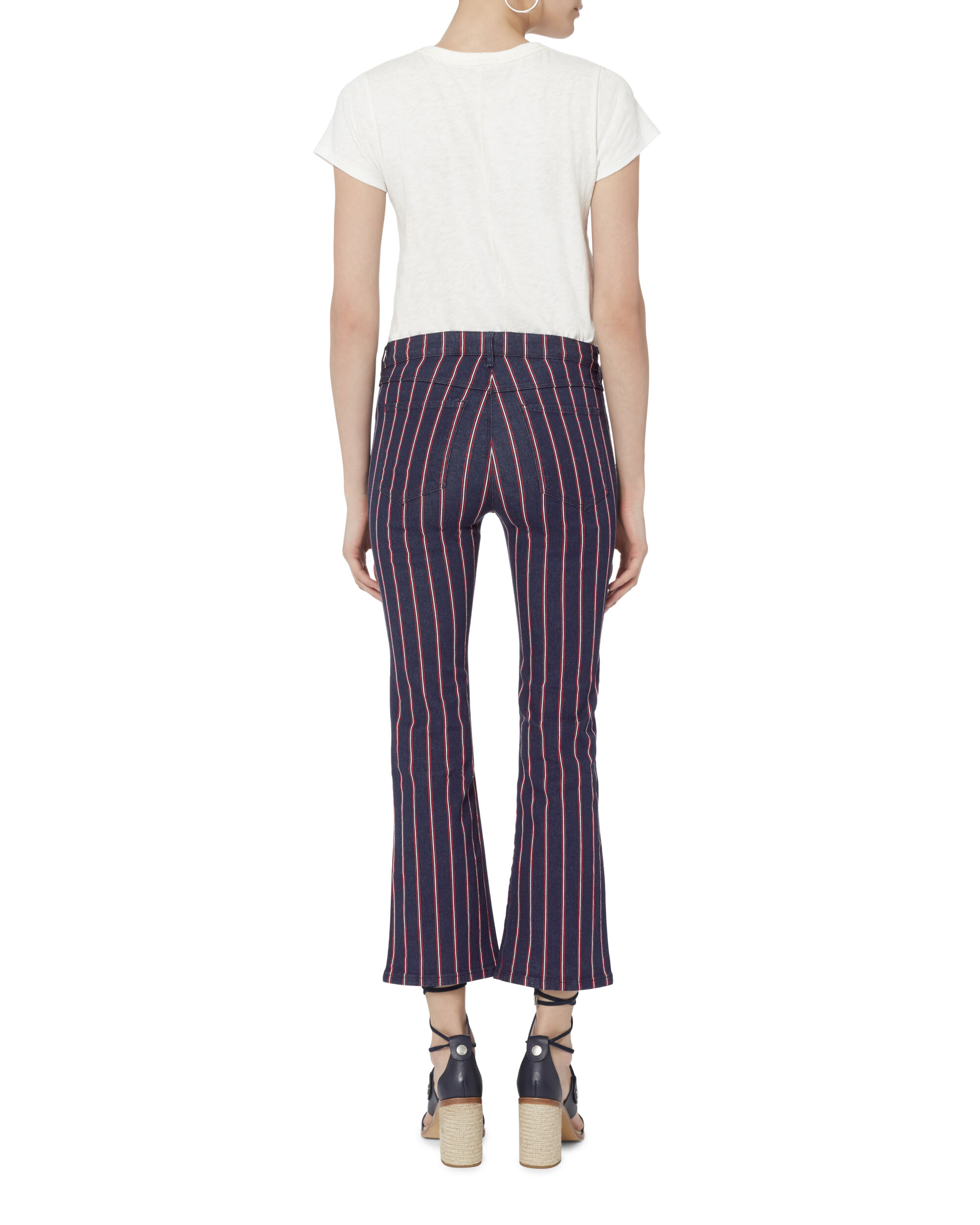 Tabby Striped Crop Flare Jeans , PATTERN, hi-res