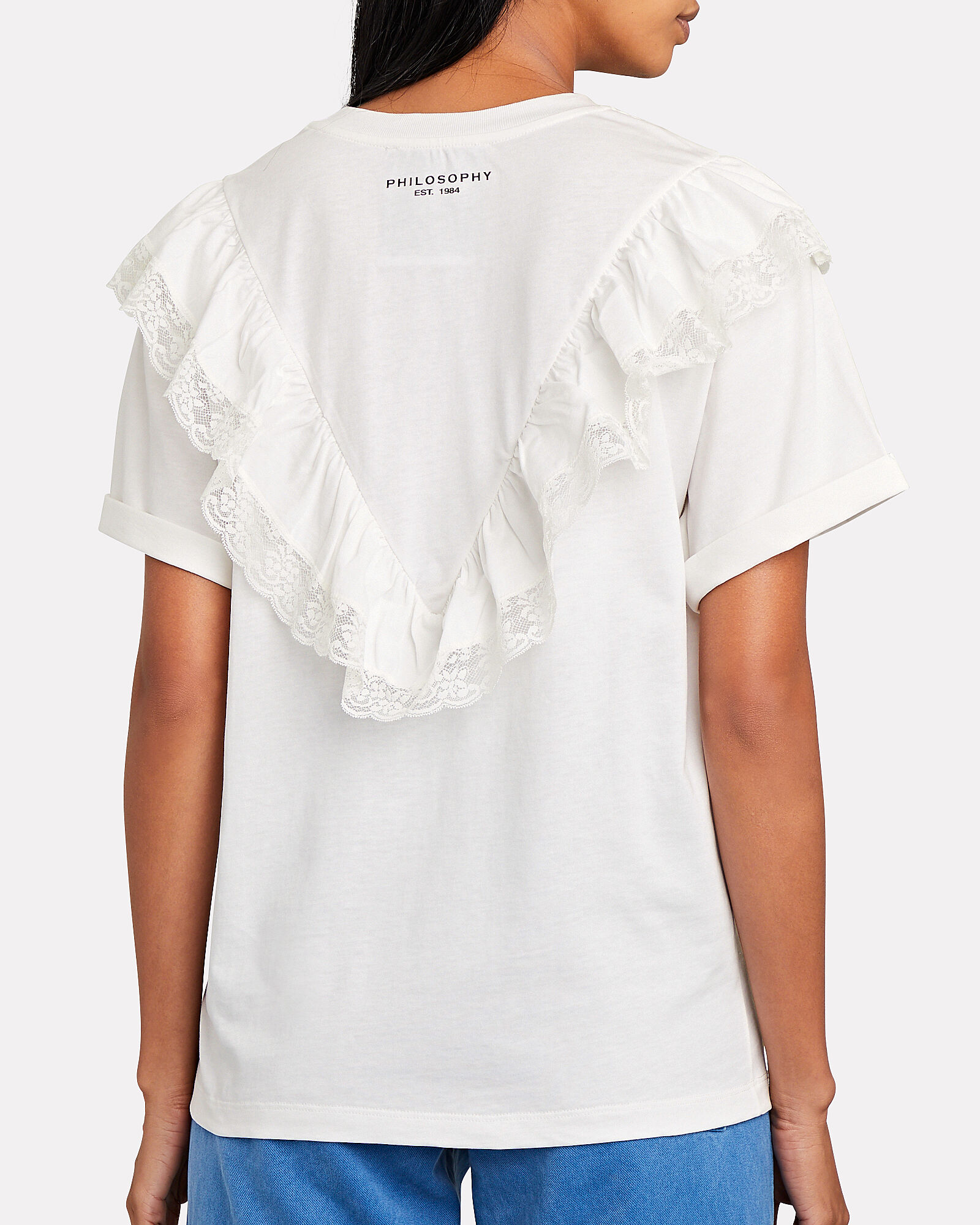 Ruffled Crewneck Cotton T-Shirt, , hi-res