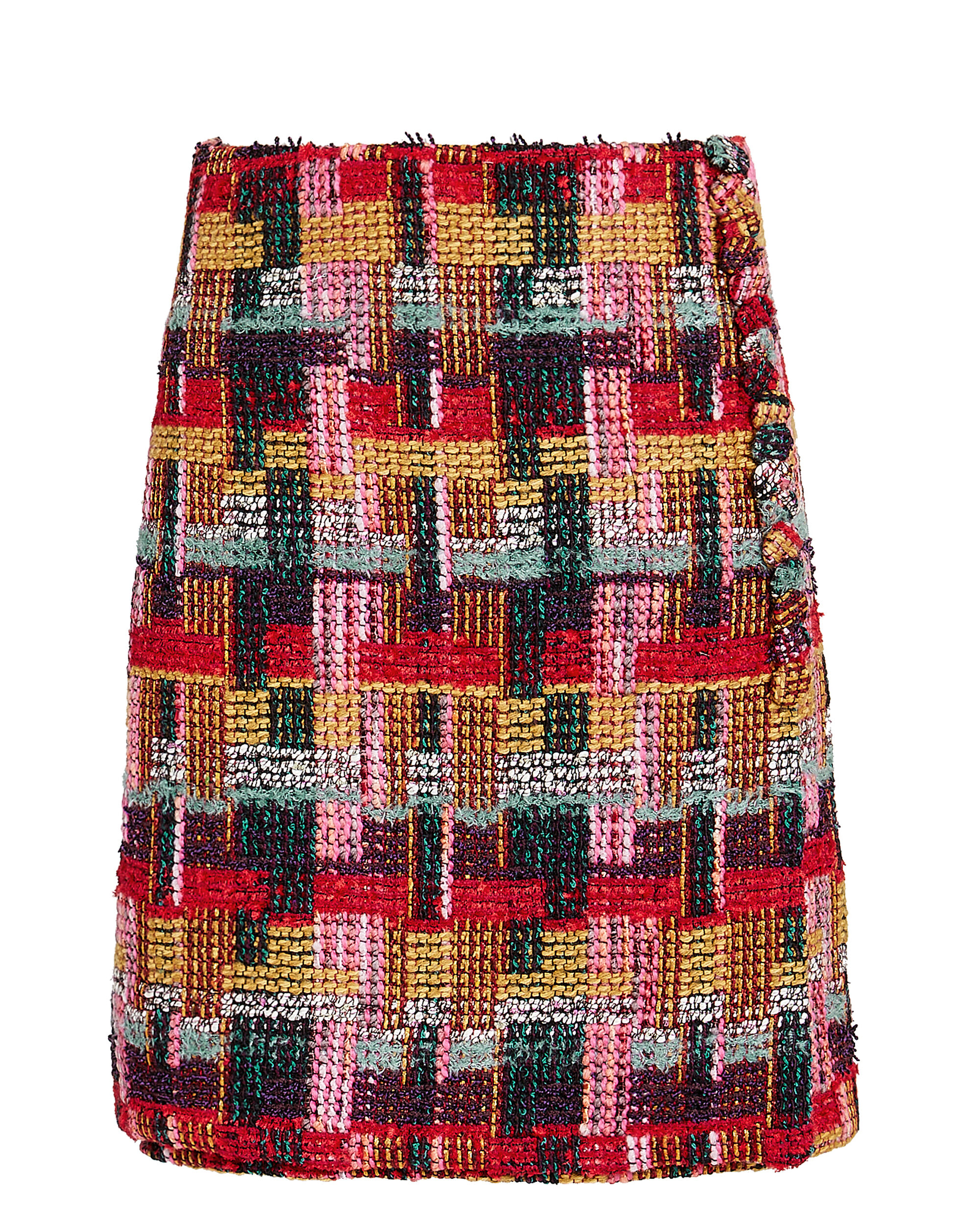 Tweed Button-Detail Wrap Skirt, MULTI, hi-res