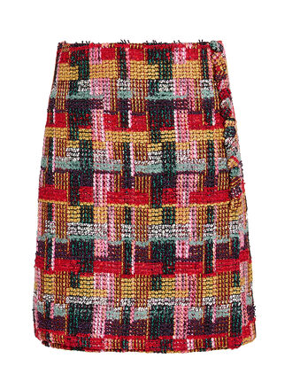 Tweed Button-Detail Wrap Skirt, RED PLAID, hi-res