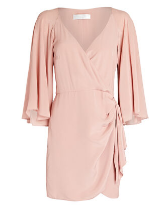 Crepe De Chine Wrap Dress, ROSE, hi-res