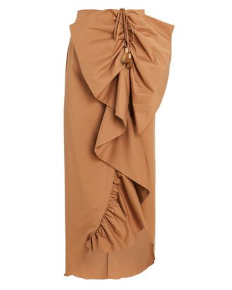 Lasting Memories Ruffled Midi Skirt, BEIGE, hi-res