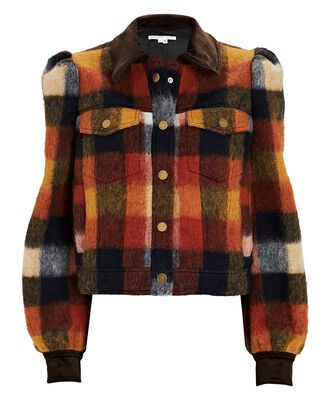 Piana Plaid Flannel Jacket, BLACK/ORANGE, hi-res