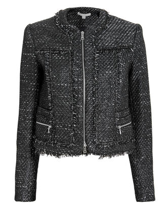 Sparkle Bouclé Cropped Jacket, BLACK/SILVER, hi-res