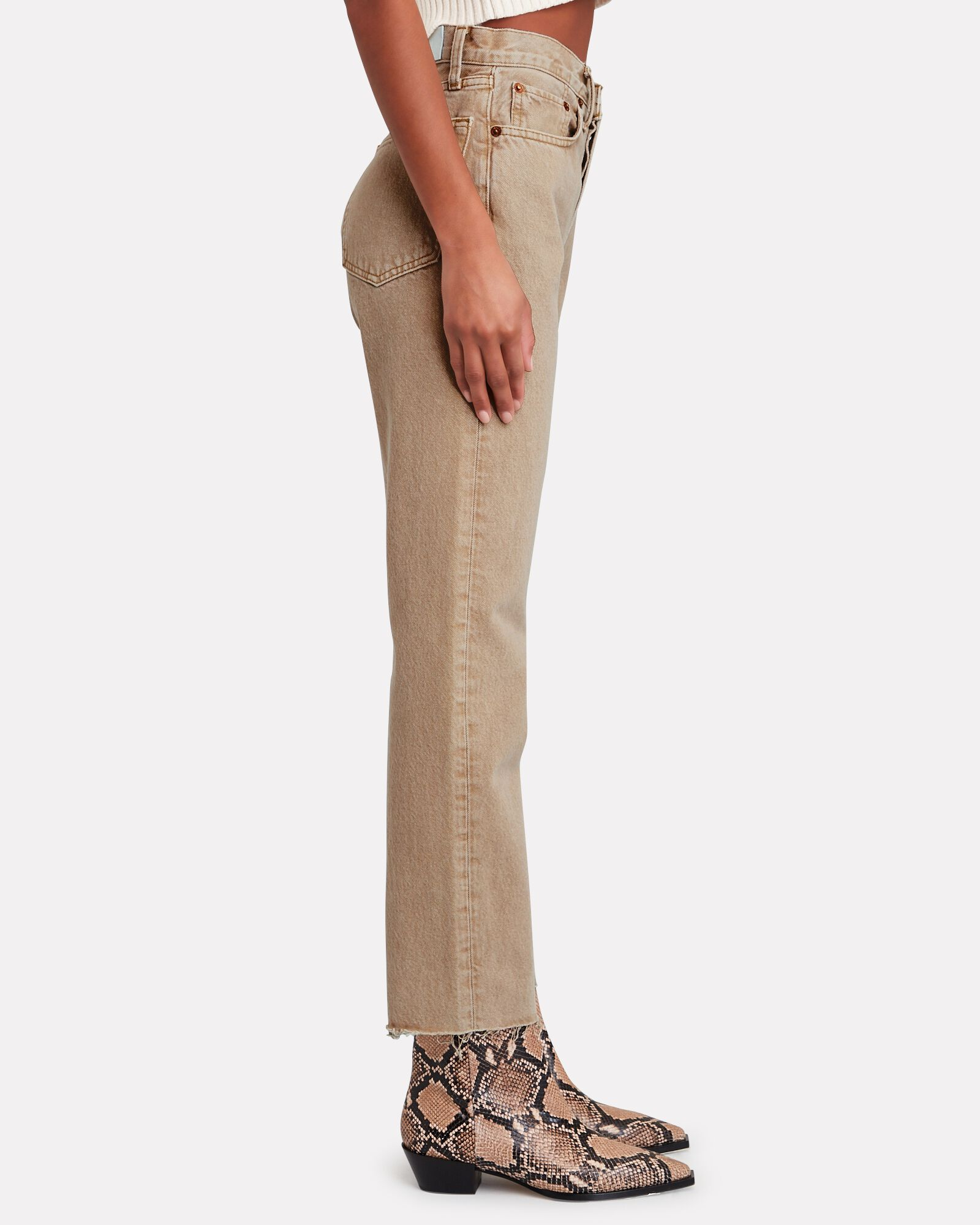 70s High-Rise Stove Pipe Jeans, BEIGE, hi-res