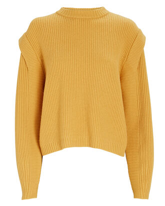 Structured Shoulder Wool Sweater, YELLOW, hi-res