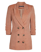 Double-Breasted Linen-Wool Blazer, BLUSH, hi-res