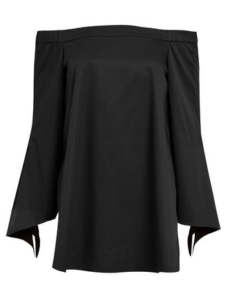 Satin Poplin Off-The-Shoulder Tunic, BLACK, hi-res