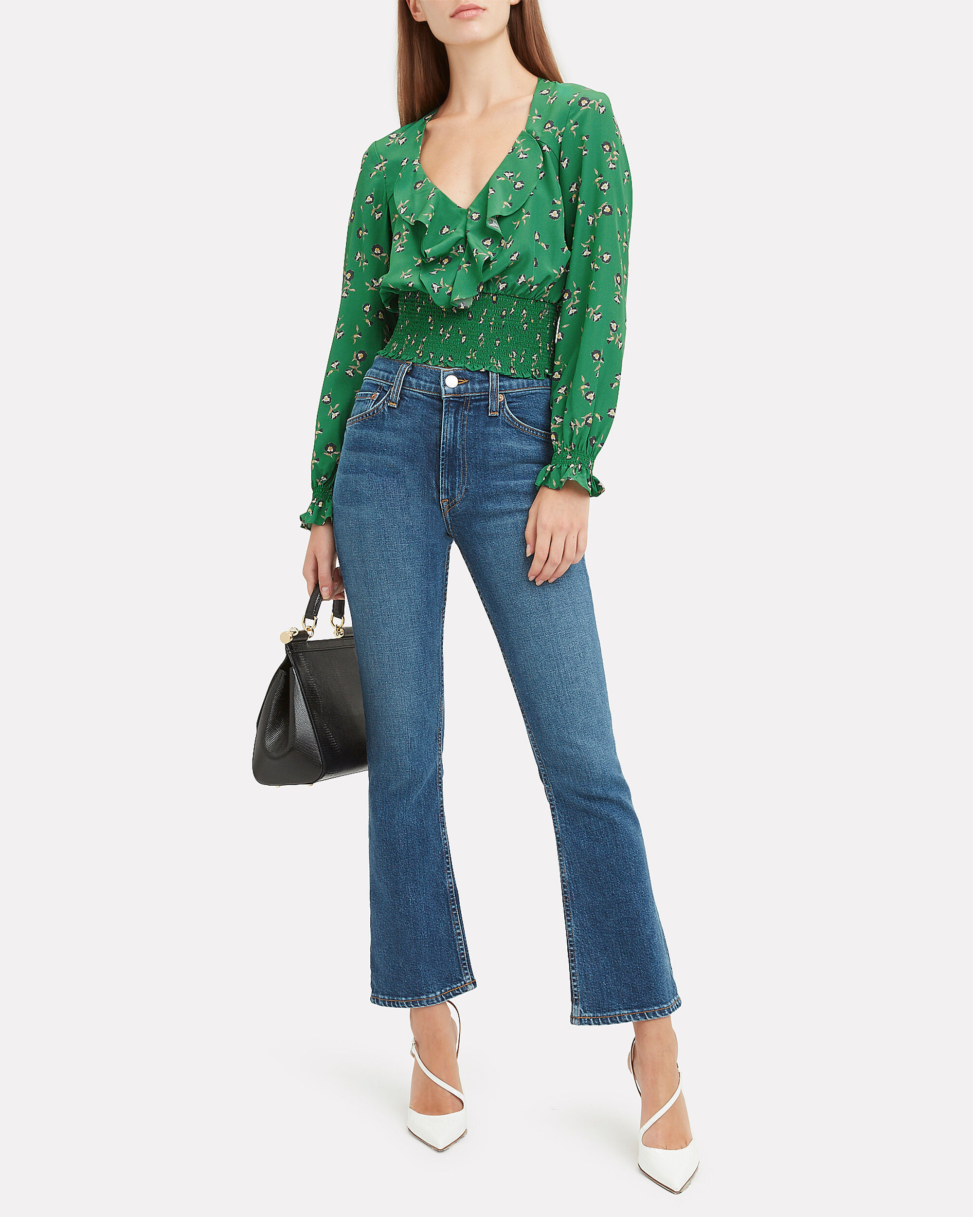 Freda Printed Top, GREEN, hi-res