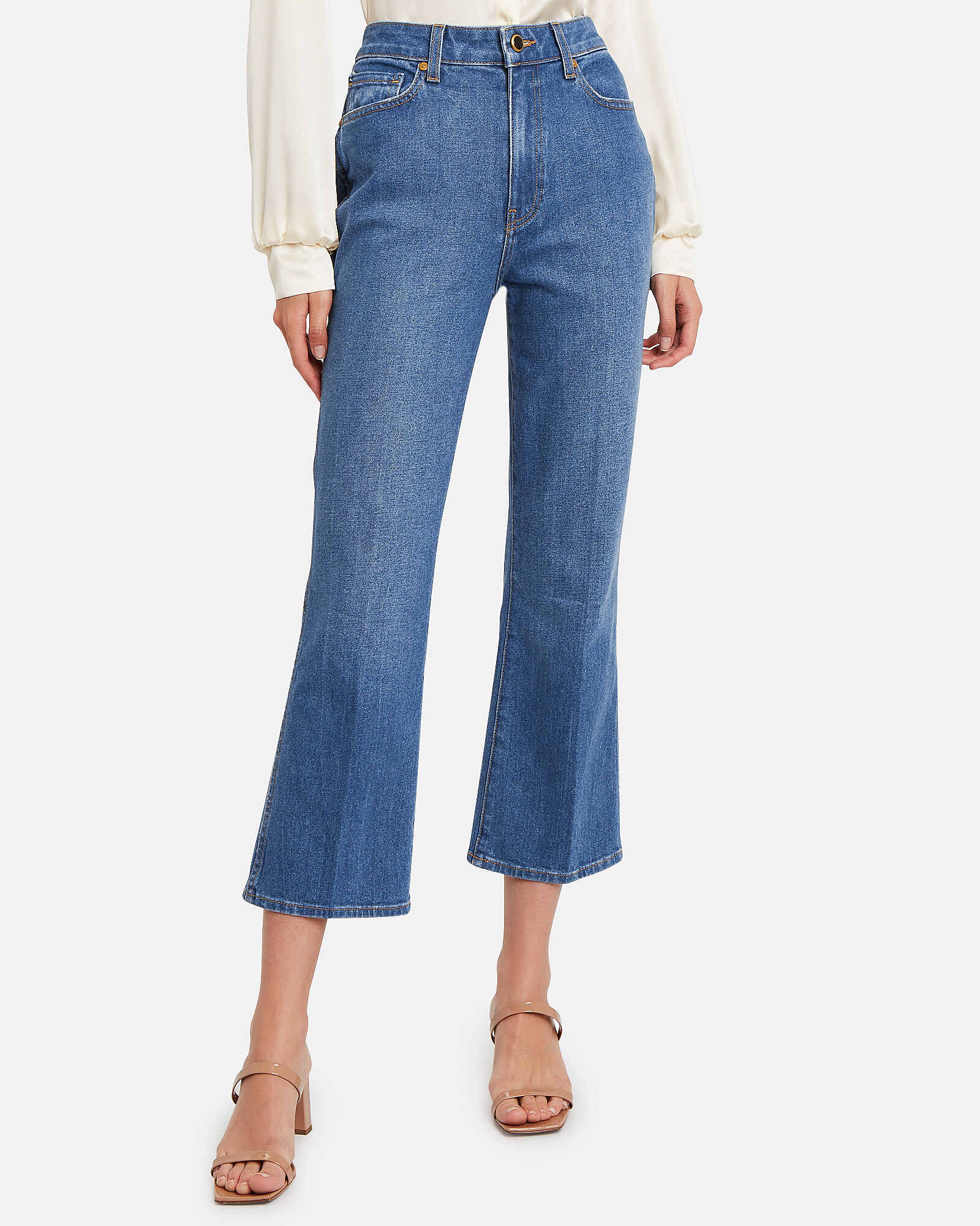 Benny Cropped Flare Jeans, MEDIUM WASH DENIM, hi-res