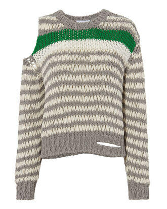 Cold Shoulder Striped Sweater, GREY-LT, hi-res