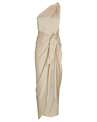 Marea Satin One-Shoulder Dress, BEIGE, hi-res
