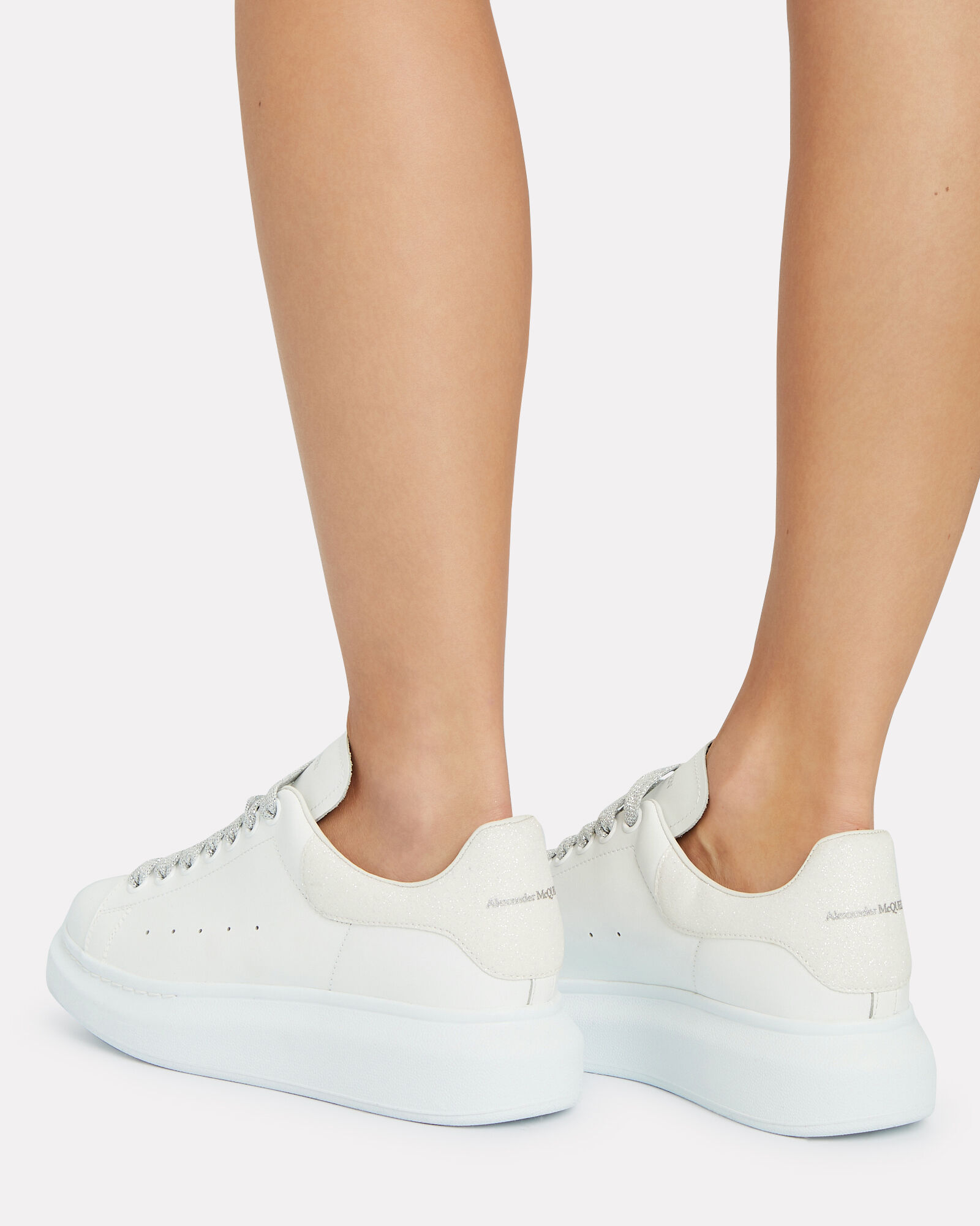 Oversized Leather Sneakers, WHITE, hi-res
