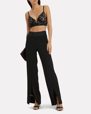 Lily Lace Long Line Black Bralette, BLACK, hi-res