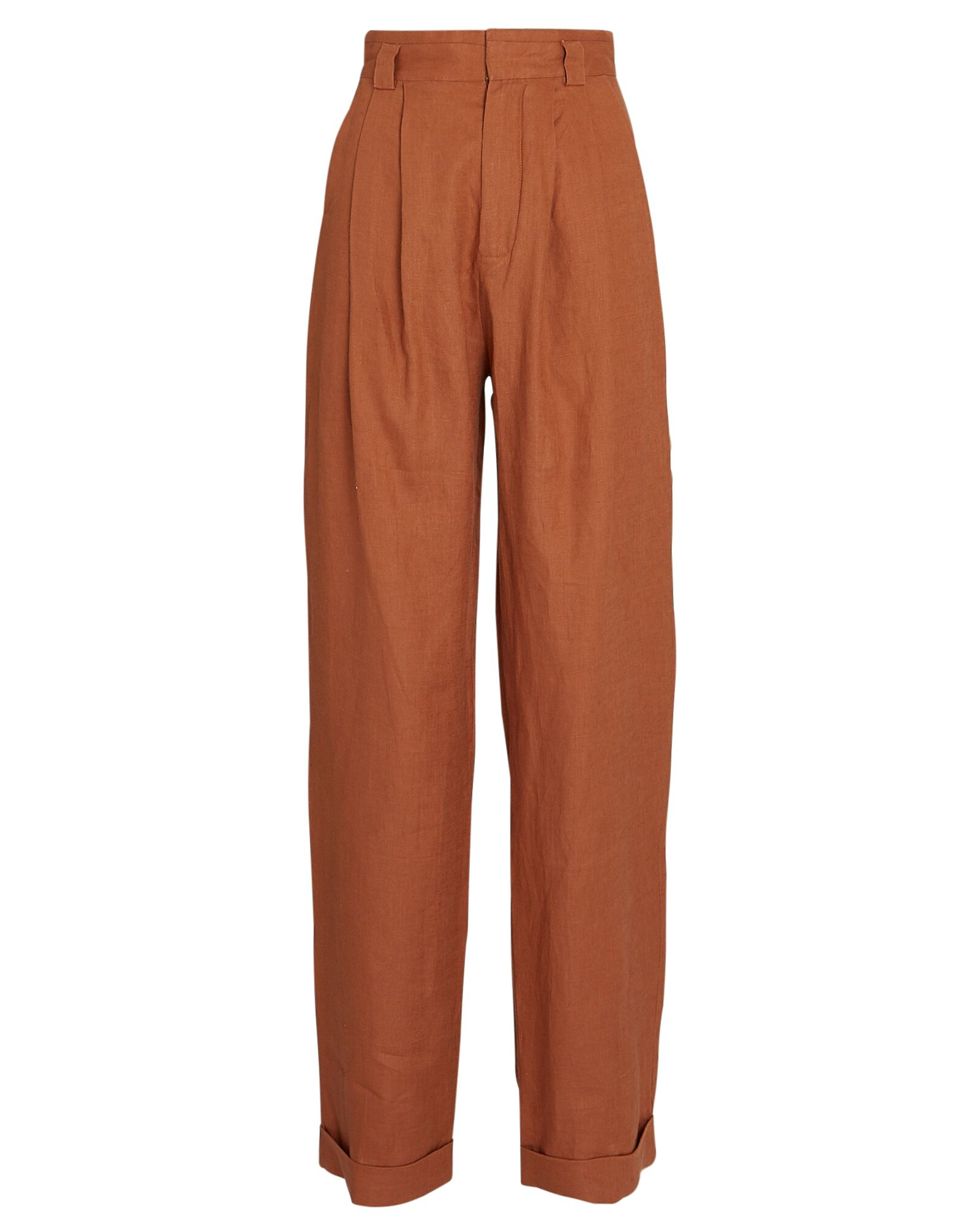 Ginevra Pleated Linen Pants, BROWN, hi-res