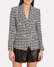 Kenzie Double-Breasted Tweed Blazer, BLACK/WHITE PLAID, hi-res
