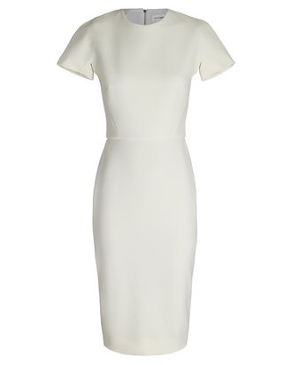 Short Sleeve Crepe Sheath Dress, IVORY, hi-res