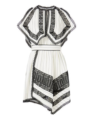 Striped Handkerchief Dress, BLK/WHT, hi-res