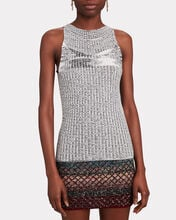 Rib Knit Cotton-Blend Tank Top, GREY-LT, hi-res
