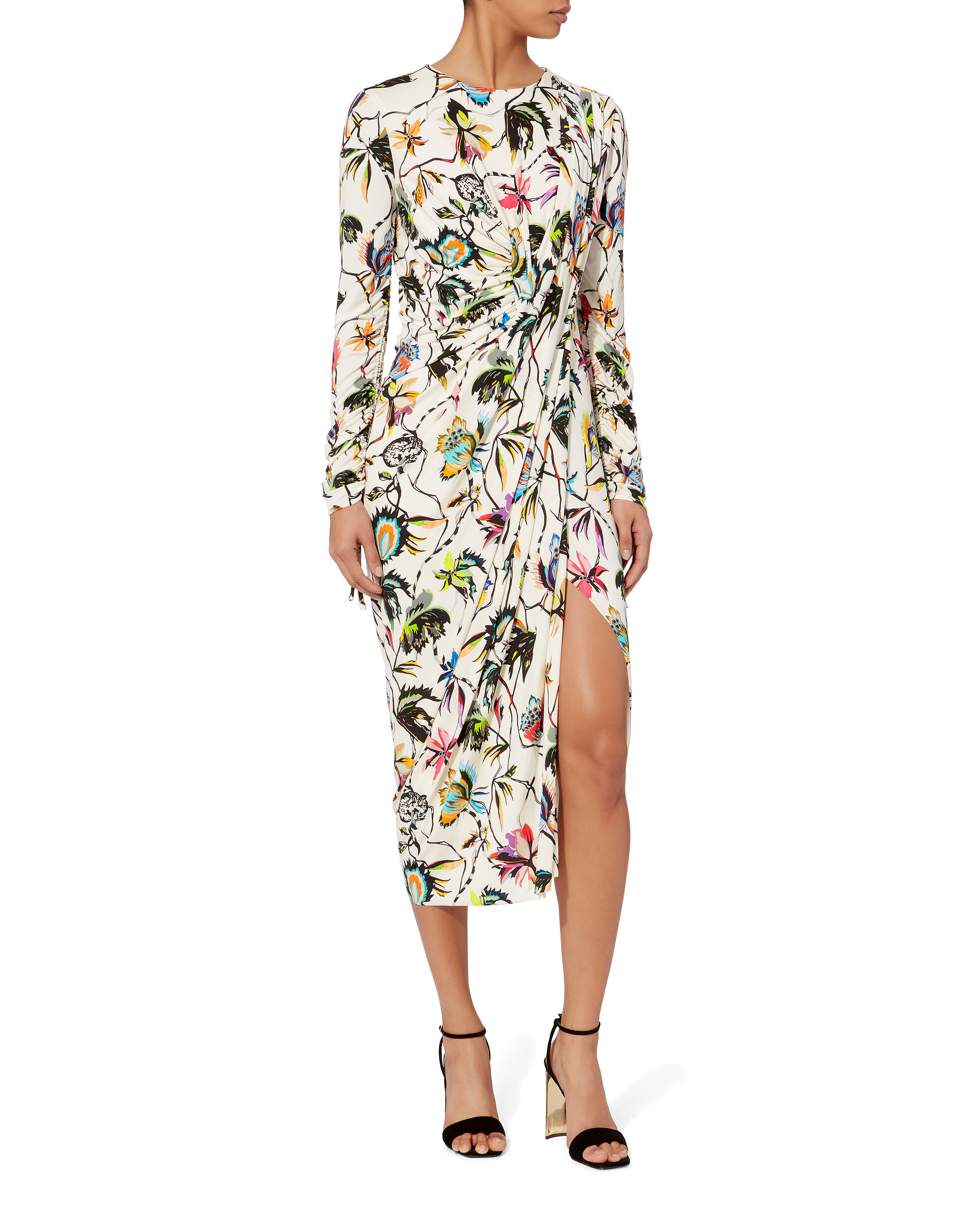 Floral-Printed Jersey Dress, WHITE, hi-res