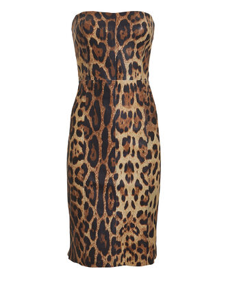Strapless Leather Leopard Mini Dress, BROWN, hi-res