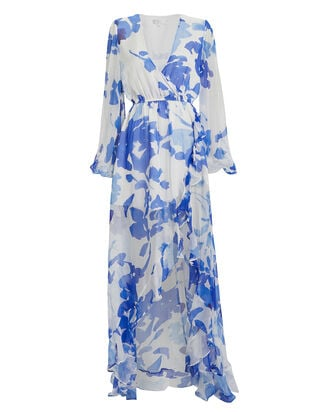 Liv Floral Silk Gown, WHITE/BLUE, hi-res