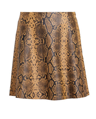 Python-Printed Leather Mini Skirt, CAMEL/PYTHON, hi-res