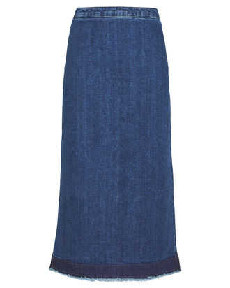 Kick Back Godet Denim Skirt, INDIGO, hi-res