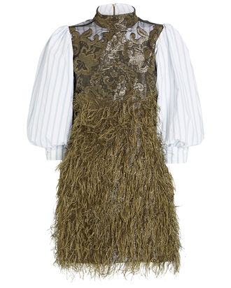 Layered Feathers Poplin Dress, , hi-res