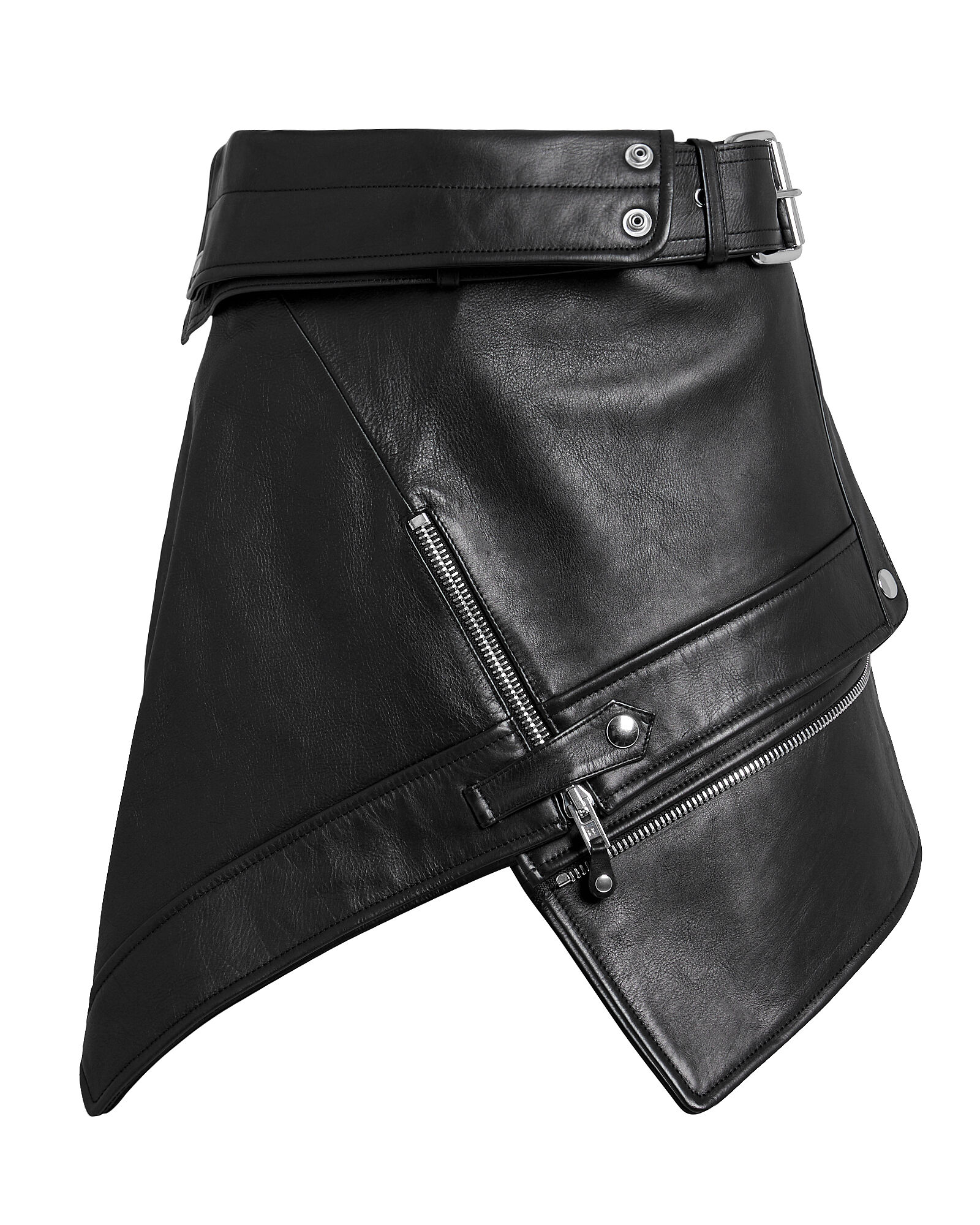 Deconstructed Moto Mini Skirt, BLACK, hi-res