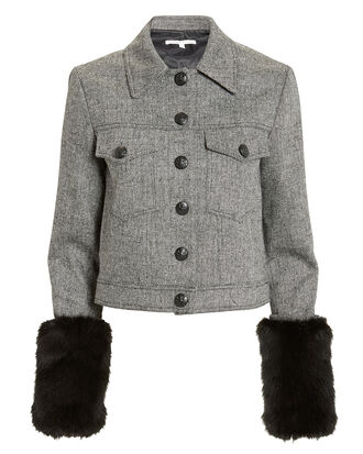 Burke Faux Fur Cuffs Jacket, GREY/BLACK, hi-res