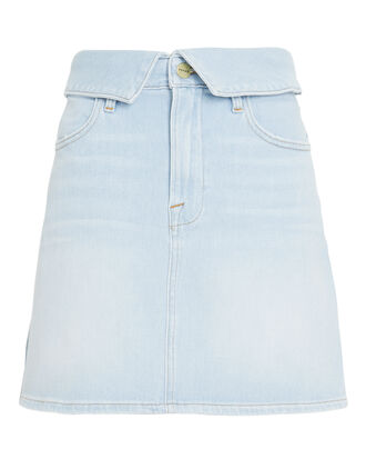 Le High Foldover Denim Skirt, DENIM-LT, hi-res