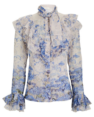Luminous Floral Cotton-Silk Blouse, MAUVE/BLUE, hi-res