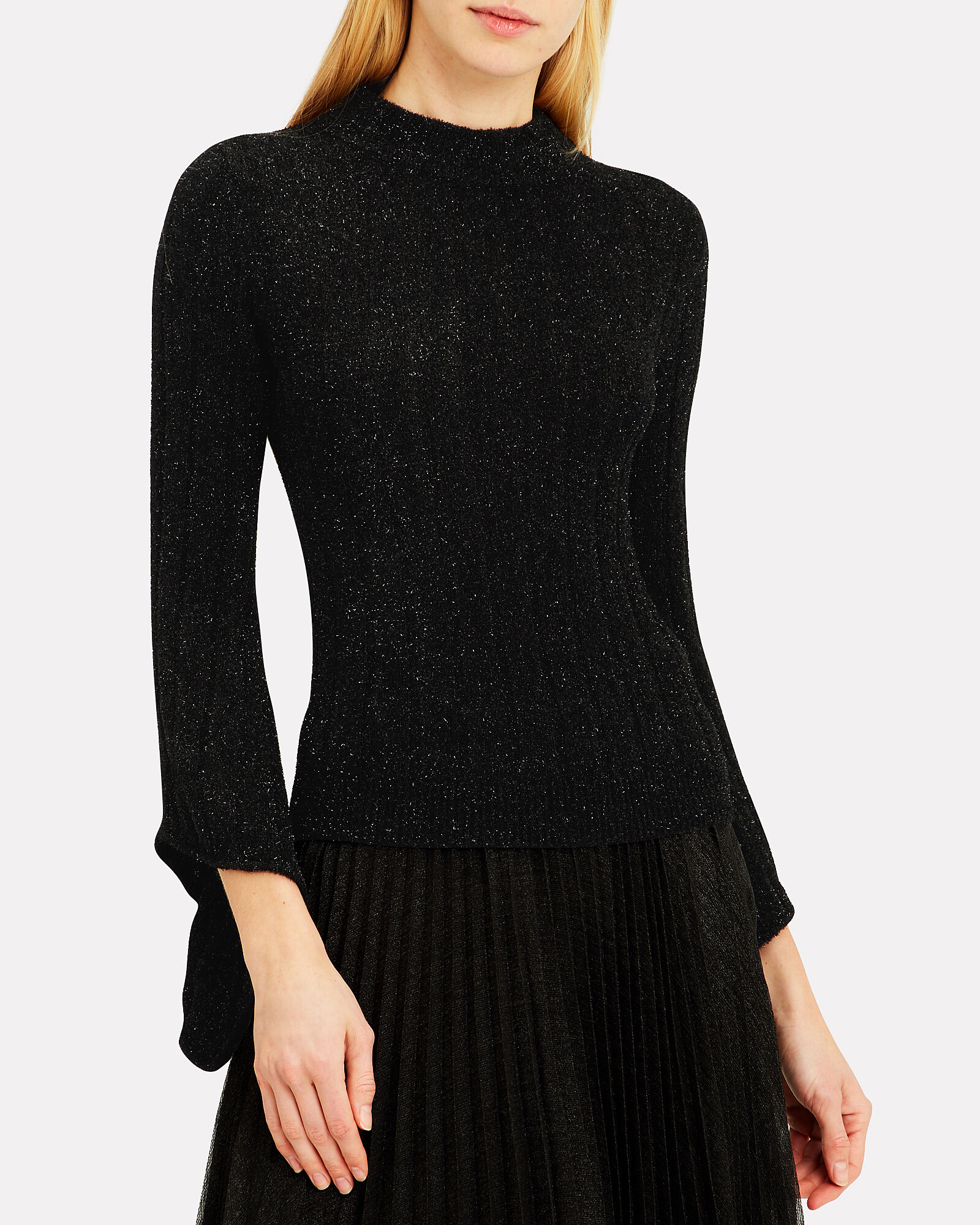 Sparkle Bell Sleeve Sweater, BLACK, hi-res
