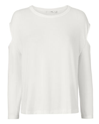 Slash Cutout White Tee, WHITE, hi-res