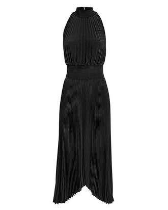 Renzo Pleated Dress, BLACK, hi-res