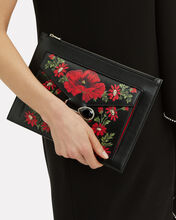 Pin Jewel Chain Floral Print Clutch, BLACK, hi-res