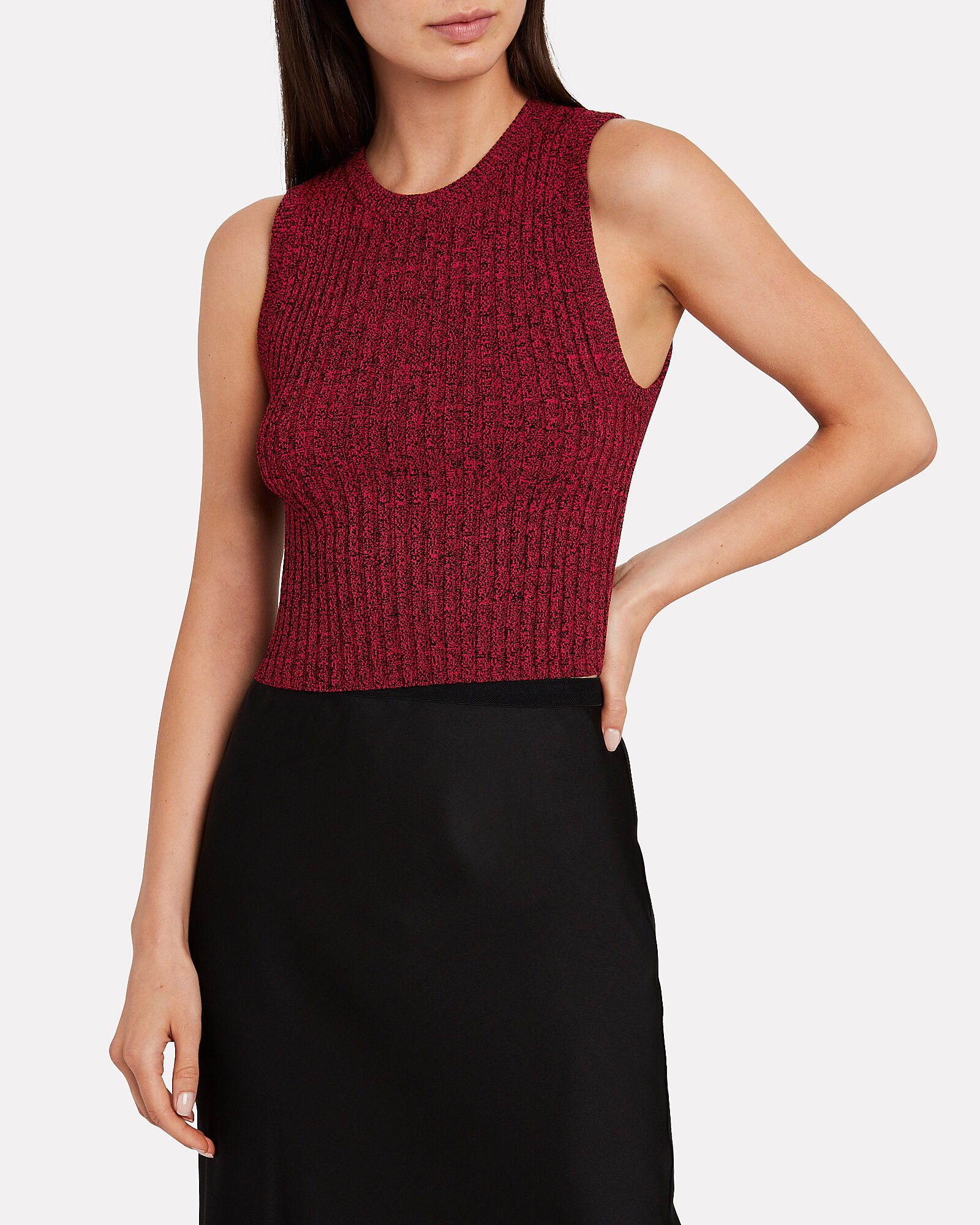 Marie Cropped Knit Tank Top, RED-DRK, hi-res