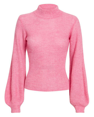 Pink Blouson Sleeve Sweater, PINK, hi-res